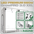 Growbox Komplettset LED GrowPRO XXL + 4x Q4WL, 660W